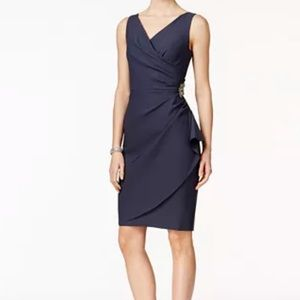 Alex Evenings navy Embellished Ruched Sheath Dress